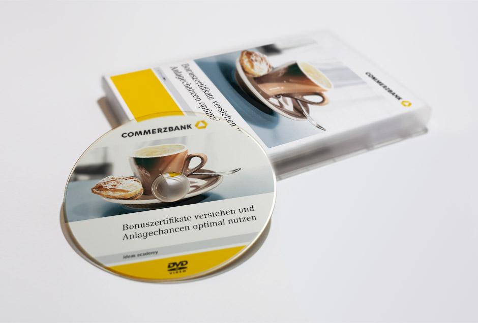 professionelles grafikdesign aus koeln fuer commerzbank dvd label