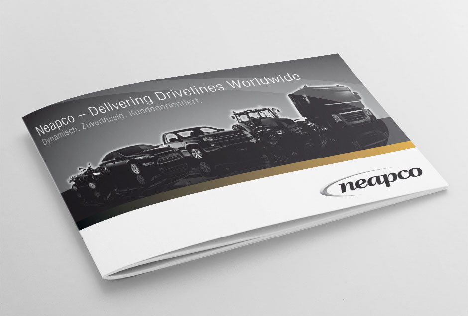 visual design fuer die imagebroschuere von neapco europe